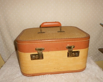 Cosmetic case Brown Train case Tweed