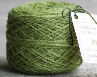 "Yarn Hand Dyed - Roubaix Wool ""Freckles Fingering"" 3-ply Tree Frog green"
