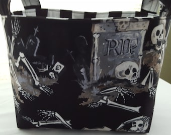 Halloween Fabric Organizer Basket Storage Bin Container RIP Skeleton