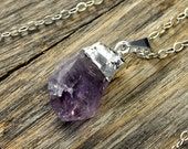 SALE - Amethyst Necklace, Amethyst Pendant Necklace, Amethyst Silver Necklace, Raw Amethyst Point Necklace, Sterling Silver Chain