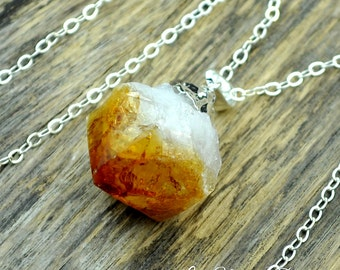 Citrine Necklace, Raw Citrine, Citrine Crystal, Silver Citrine, Citrine Pendant, Citrine Point, Silver Necklace, Sterling Silver Chain