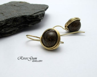 Bronzite Earrings, Gemstone Earrings, Wire Wrapped, 14kt Gold Filled, RiverGum Jewellery