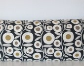 Black botanical decorative pillow cover -  Richloom Ingrid Slub Ebony - black floral lumbar throw or body pillow cover