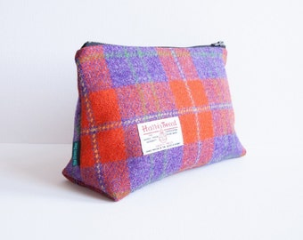 Harris Tweed big make-up bag in red and purple tartan with water-resistant lining