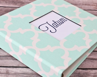 Baby Book, Baby Gift, Baby Album, Baby Memory Book, Baby Keepsake, Modern Baby Book, Mint Quatrefoil Album