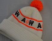 Vintage A&W ROOTBEER Logo 80's Knit Winter Stocking Hat Pom Ski Cap Soda Pop