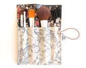 Mini MakeUp Vinyl Brush Roll - Rock n Romance - bridesmaid gifts travel accessory crochet hook case makeup bag brush holder vinyl brush roll