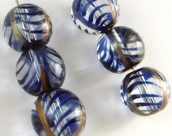 Hand Painted Glass Beads 6 pcs Blue  Rare Vintage Large Bead 10mm B-213