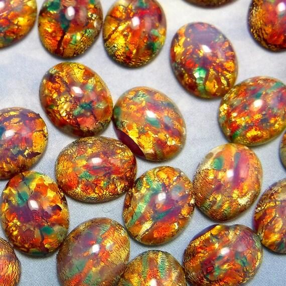 Pink Opal Vintage Glass Cabochon 10 pcs 10x8 mm Stones S-306 B