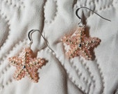 Little Baby Starfish Beaded Earrings with Silver Tone Accents