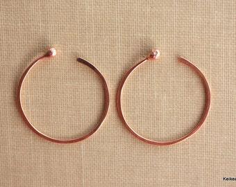 Hoop Earrings, Copper Hoop Earrings, One 1 Inch Hoops