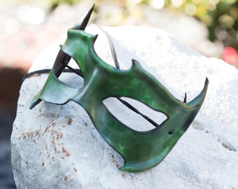 Green Horned Leather Mask