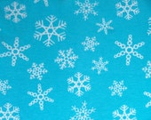 Blue Snowflake Knit Fabric - Winter Knit Print - Christmas Fabric Medium Weight Cotton Lycra Knit Fabric By The Yard - The Fabric Zoo