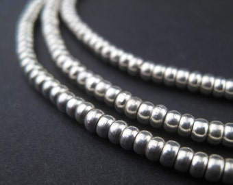 330 Smooth Silver Heishi Beads - 3mm Silver Spacers - Small Metal Spacer Beads - White Metal Jewelry Making Supplies (MET-HSHI-SLV-150)
