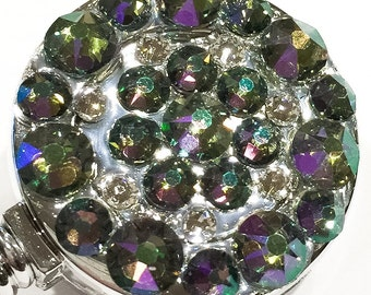 Irridescent All Swarovski Crystal Embellished Retractable ID Name Tag Badge Reel