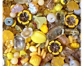 Sunshine Yellow Bead Mix with Gemstones and Czech Glass Premium Beads, Opal, Maple Leaves, Agate