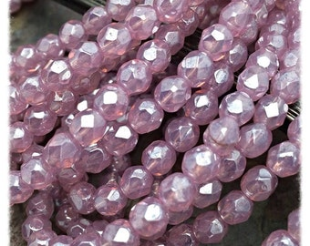 Pink Opal Luster Faceted Firepolished 6mm Czech Glass Beads, 30 beads