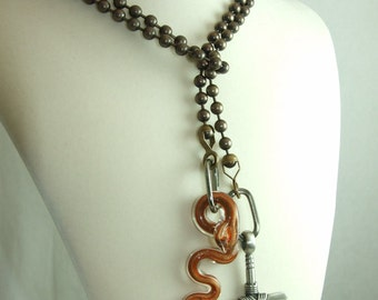 40 Inch Lariat with Cross and Snake Pendants