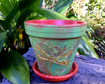 Painted Flower Pot - Dragonfly Planter - Rustic Flower Pot - Orange and Green