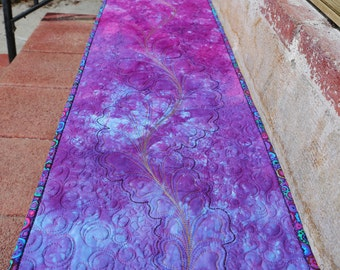 MarveLes QUILTED TABLE RUNNER Hand Dyed Fabric in Purple Periwinkle Turquoise Pink Gold Thread Home Decor Dining