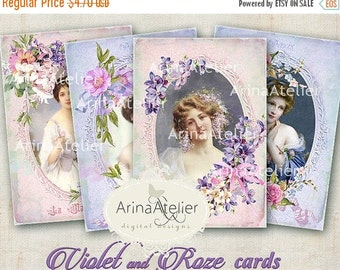 SALE 30% OFF - CARDS Violet and Roze - Digital Collage Sheet - Digital Printables - Digital Collage Tags - Digital Romantic Women - Scrapboo