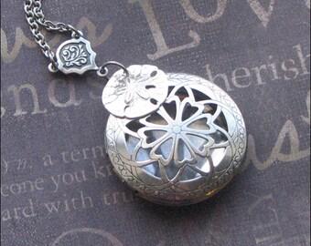 Sand Dollar Aromatherapy Locket, Locket Necklace, Locket Jewelry, Necklace, Silver Locket, Engraved Locket, Birthday Gift, SAND DOLLAR Ocean