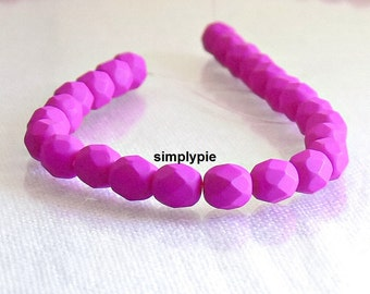 Matte Fuchsia Neon Czech Glass Beads Fire Polished 6mm 25 Faceted Round