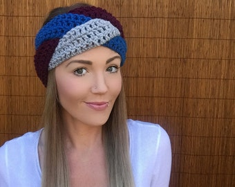 Burgunday, Sapphire Blue, Grey Braid Head Hair Accessory Band Earwarmer Wine Headband Crochet Knit Head Wrap Fashion Gray Girl Woman Boy Men