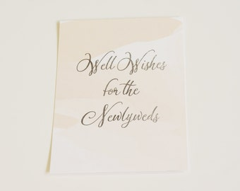 Well Wishes Wedding Sign, Silver Foil, Wedding Sign, Guestbook Sign, Table Sign, Watercolor Wedding Sign, Blush Wedding Sign, Peach Wedding