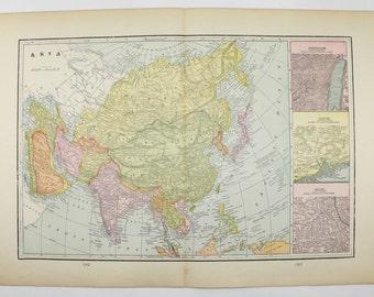 1885 Antique Asia Map Vintage Asian Decor Gift for Parents