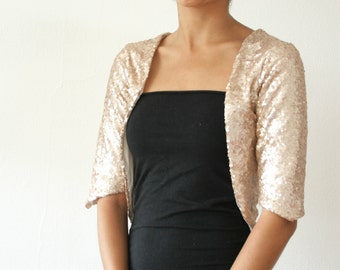 DISCOUNTED LARGE - Champagne Gold Sequin Bolero Shrug, Formal Wedding or Bridal Party, Holiday - Classic and Simple - EcoFriendly - SALLY
