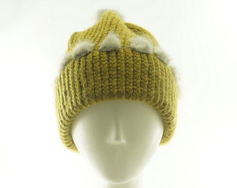 Mustard Yellow BEANIE HAT - Knit Beanie Hat for WOMEN - Knit Cap - Women's Winter Hats - Slouchy Knit Hat - Fur Trim Hats - Street Style