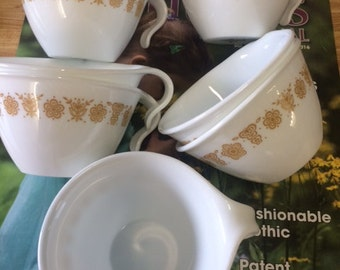 Corelle Butterfly Gold Set of 7 Tea Cups