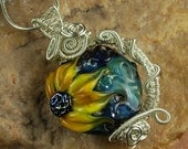Silver Wire Wrapped Necklace, Lampwork Necklace, SunFlower #N425