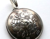 Japan Jewelry Coin Pendant Cherry Blossom Flower Vintage Necklace Unique Charm World Traveler Ethnic Upcycled Boho Jewelry