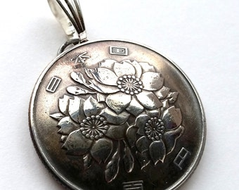 Japanese Cherry Blossom Pendant From Japan Coin Jewelry, Best Selling Jewelry Foreign Flower Coin Christmas Gift for Her Gift for Mom