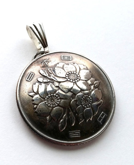 Japan Coin Flower Pendant, Unique Ethnic Upcycled Boho Jewelry, Bohemian World Travel Jewelry With Meaning Pendant or Keychain
