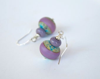 Lampwork Glass Earrings, Purple Earrings, Turquoise Blue Earrings, Glass Bead Earrings, Tye Dye Earrings
