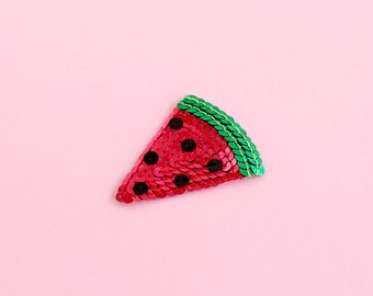 Watermelon Sequin Patch - Handmade - Red Green & Black