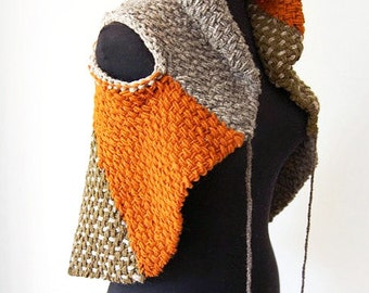 Handwoven brown tones wrap cape ready to ship