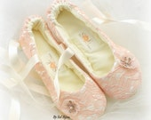 Ballet Flats, Blush, Ivory, Pink, Lace Flats, Elegant Wedding, Wedding Flats, Shoes, Ballerina Slippers, Crystals, Flower Girl, Satin