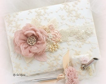 Wedding Guest Book, Lace Guest Book, Rose, Blush, Champagne, Tan, Ivory, Vintage Style, Signature Book, Birthday, Anniversary, Pen, Elegant