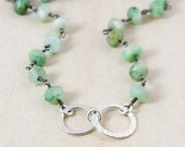 ON SALE Green Chrysoprase Necklace – Sterling Silver Hoops