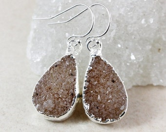 ON SALE Natural Druzy Dangle Earrings - 925 Sterling Silver - Choose Your Druzy