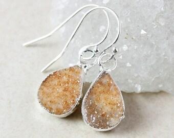 ON SALE Silver Teardrop Druzy Dangle Earrings - Choose Your Druzy
