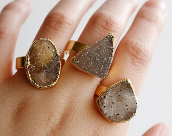 ON SALE Gold Organic Shape Agate Druzy Gemstone Rings - One of a Kind - Statement Rings, Spring Fashion