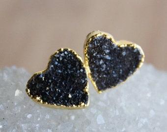 Gold Black Druzy Heart Stud Earrings - Druzy Posts - 14K GF