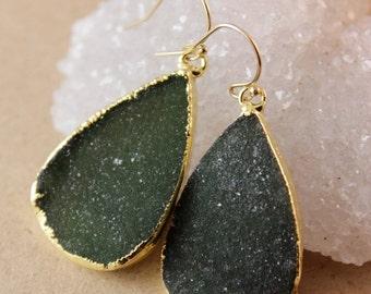 50% OFF Midnight Green Drusy Quartz Earrings - Black Drusy Glamour Earrings - Teardrop Earrings