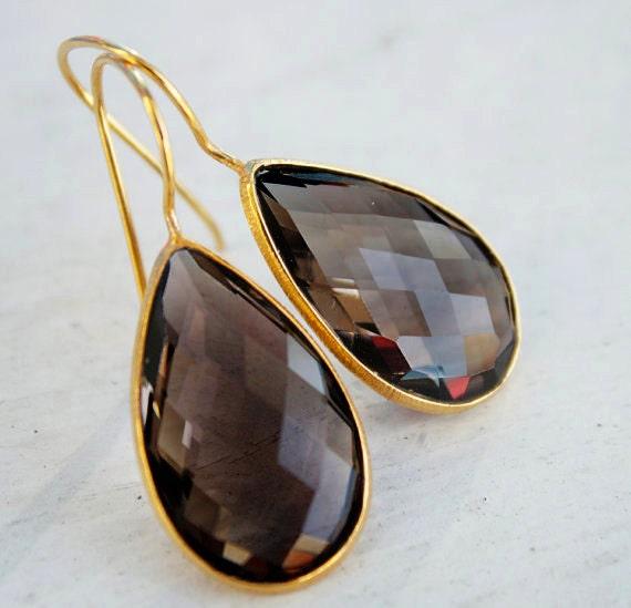 LAST PAIR - Gold Smokey Quartz Teardrop Earrings - Gemstone Earrings - Ash Brown