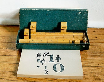 Vintage Wood Rubber Stamp Set of Numbers in Original Green Box by Columbia Sign Making School Graphic Supply